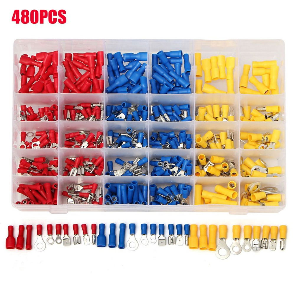 480Pcs Insulated Wiring Terminals Electrical Wire Terminal Crimp Connector Kit With Different Size Assortment With Case