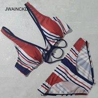 JWAINCKD Colorful Bikini 2018 Women Low Waist Striped Paded Swimsuit Push Up Women Swimwear Beachwear Lady Swimmer Female Bikiny