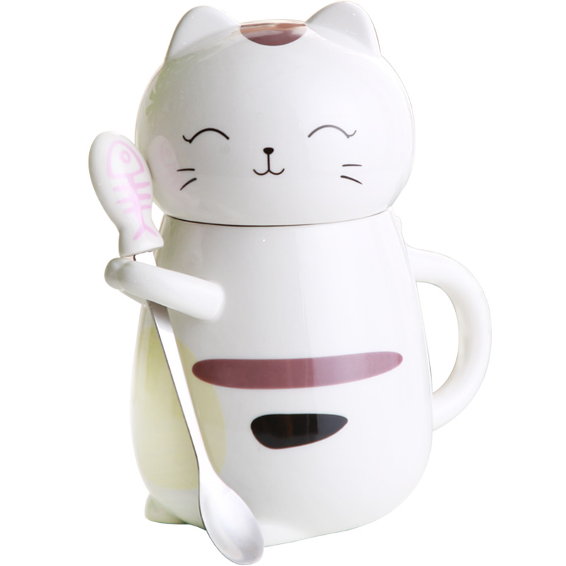 3D Creative Kawaii Cartoon Cat Coffee Mugs Ceramic cup with Lid Milk Tea Cups with spoon water bottle Breakfast Cup Lover Gifts