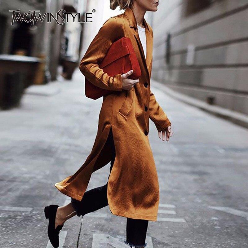 TWOTWINSTYLE Side Split Trench Coat Female Long Sleeve Single Breasted Womens Windbreaker Cardigan Elegant Streetwear New 2018