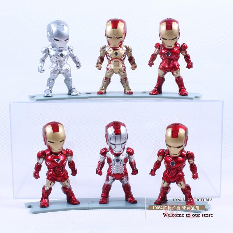 Iron Man Eye Light Function Iron Man Mark 2 3 4 5 6 42 PVC Action Figure Collectible Model Toy 6pcs/set Boxed агхора 2 кундалини 4 издание роберт свобода isbn 978 5 903851 83 6