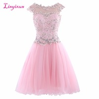 Linyixun Real Photo Exquisite Cocktail Dresses Lace vestido de festa Scalloped Neck Cap Sleeves Chiffon Short Homecoming Gowns