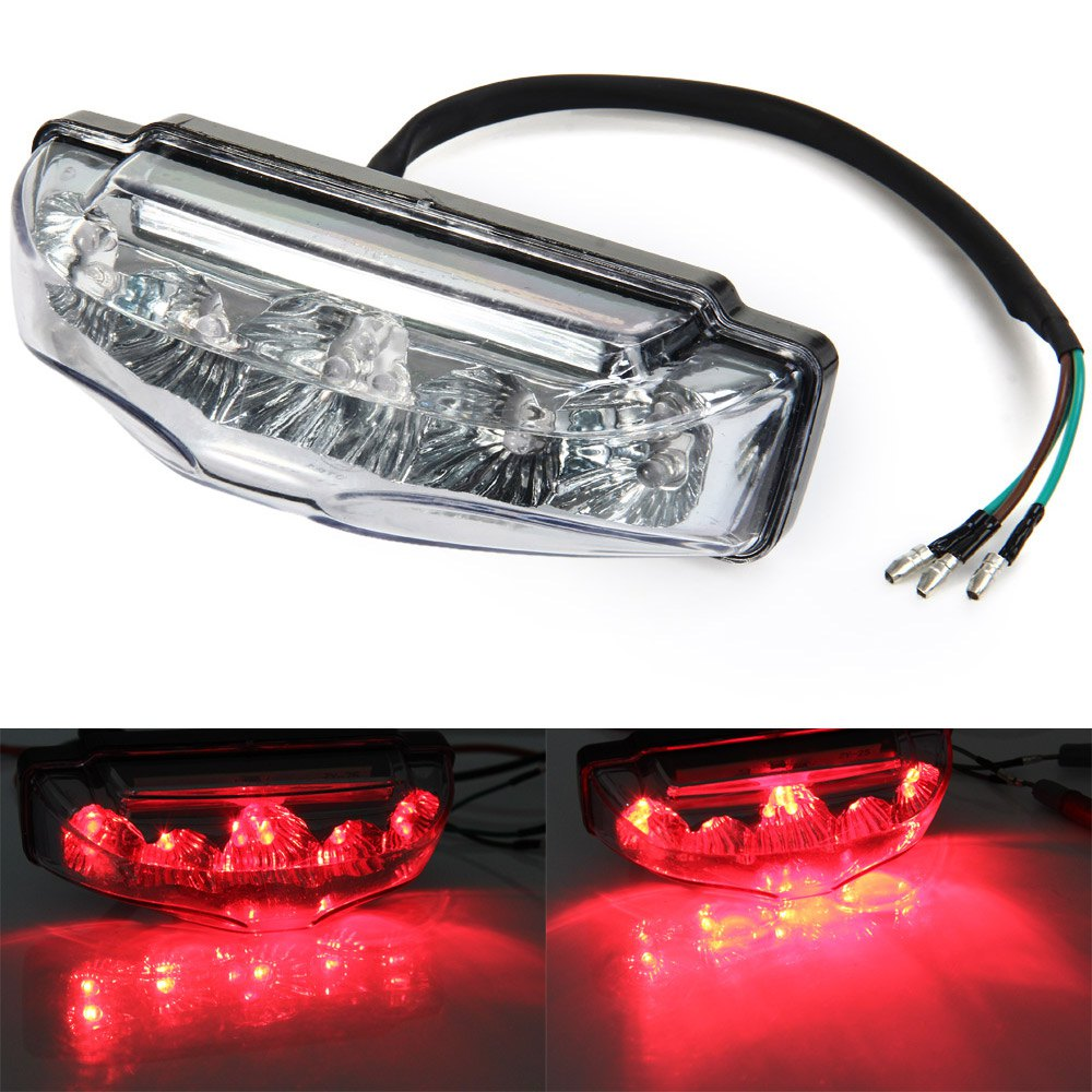 Motorcycle 9 led tail rear red light lamp dc 12v clear for Dc motor light led