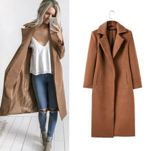 946126260 Women Autumn Winter Fashion Solid Brief Turn-down Collae Long Sleeve Open Stitch Long Coat With Pockets szxnw