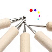 цены 5 pcs/set Different Dotting Round Head Size Wooden Dotting Pen Wood Handle Alloy Dotting Head Nail Art Dotting Tool LPC
