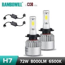 72 W H7 Voiture LED Phare Ampoule Adaptateur Brouillard Faisceau de Lumière Unique de travail Feux de jour Lampe Lumière COB Puces 8000LM 6500 K 12 V 24 V