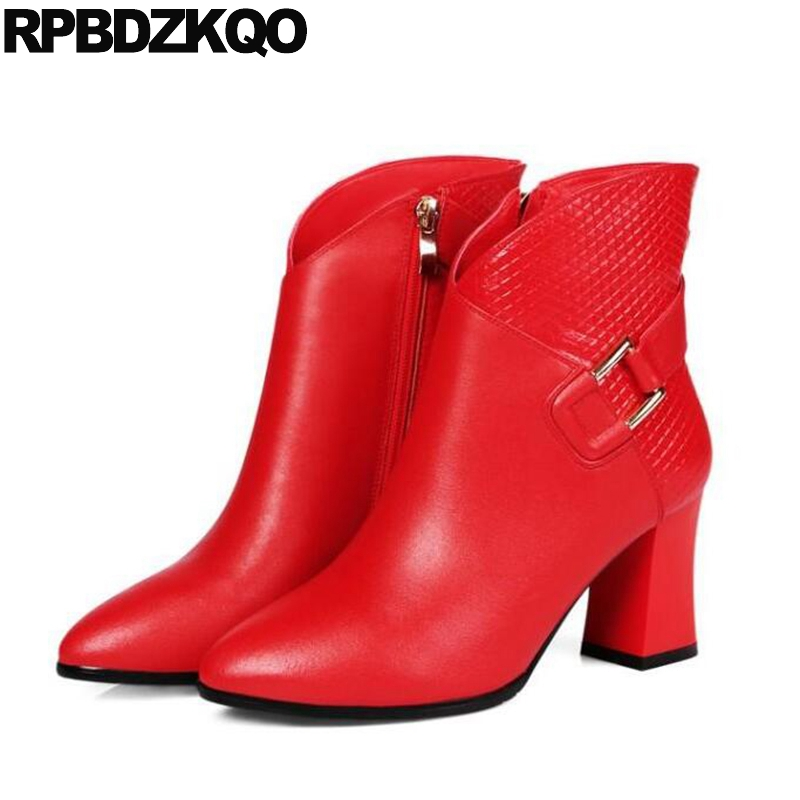 Short Shoes Ankle Strange Side Zip Boots Chunky Booties Autumn Pointed Toe Genuine Leather Metal High Heel Red 2017 Chinese short brown high quality chunky fall round toe front lace up casual ankle boots autumn shoes genuine leather women booties heel