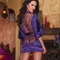 1pcs Sexy Lingerie Satin Lace Black Kimono Intimate Sleepwear Robe Sexy Nightdress G-string Hot Sale H246