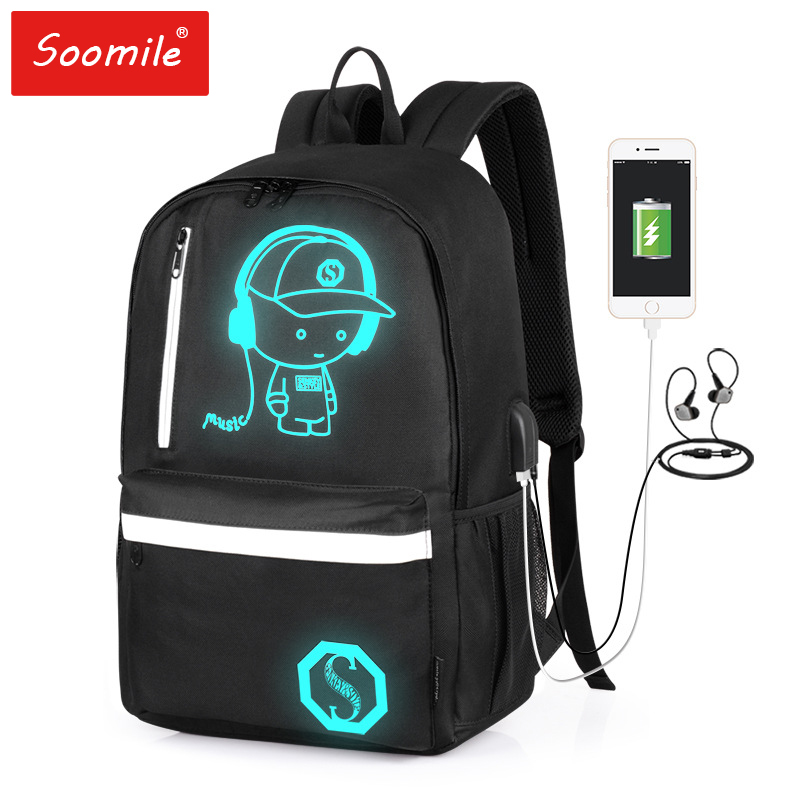 Anti-theft Bag 2020 New Fashion Men Backpack Student School Bag Anime Luminous USB Charge Laptop Backpack SchoolBag For Teenager