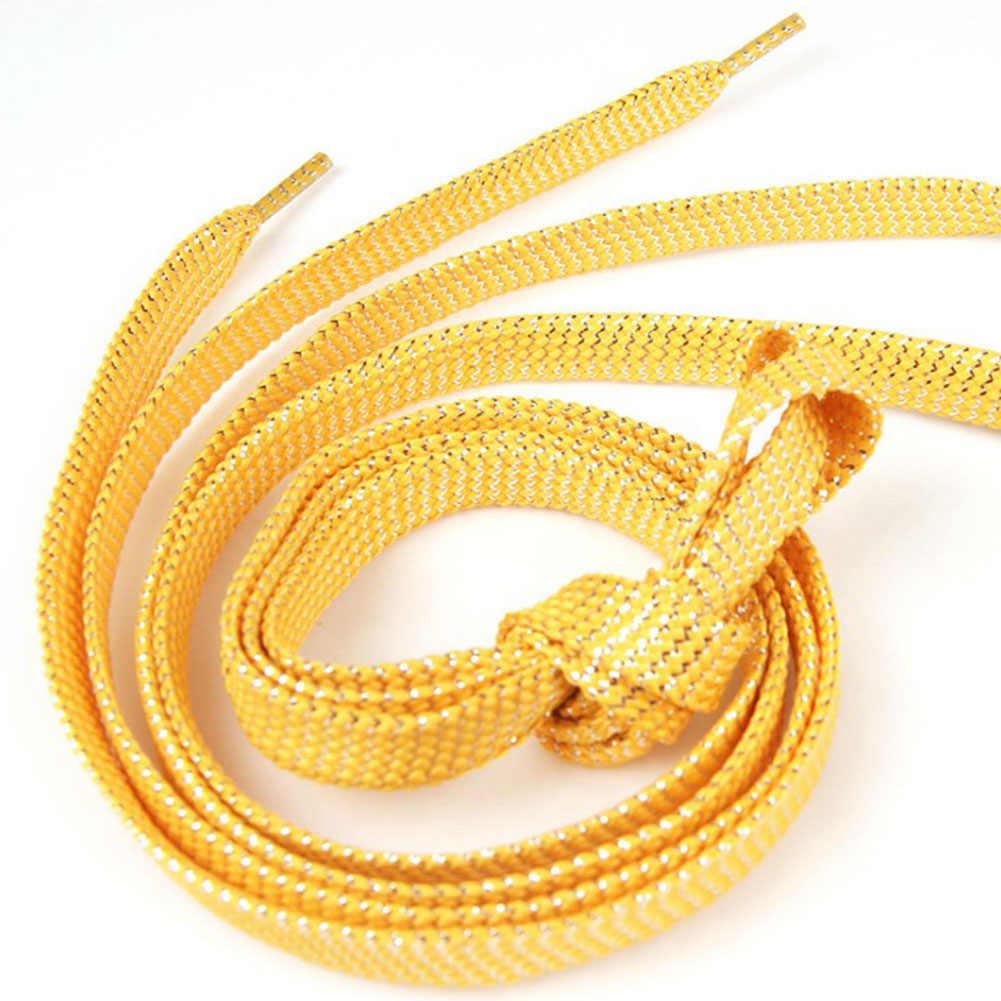 1 คู่รองเท้าส้นสูงแบนทองเงินรองเท้า Laces ปาร์ตี้ Shoelaces ตั้งแคมป์เรืองแสงผ้าใบสาย 110 ซม.