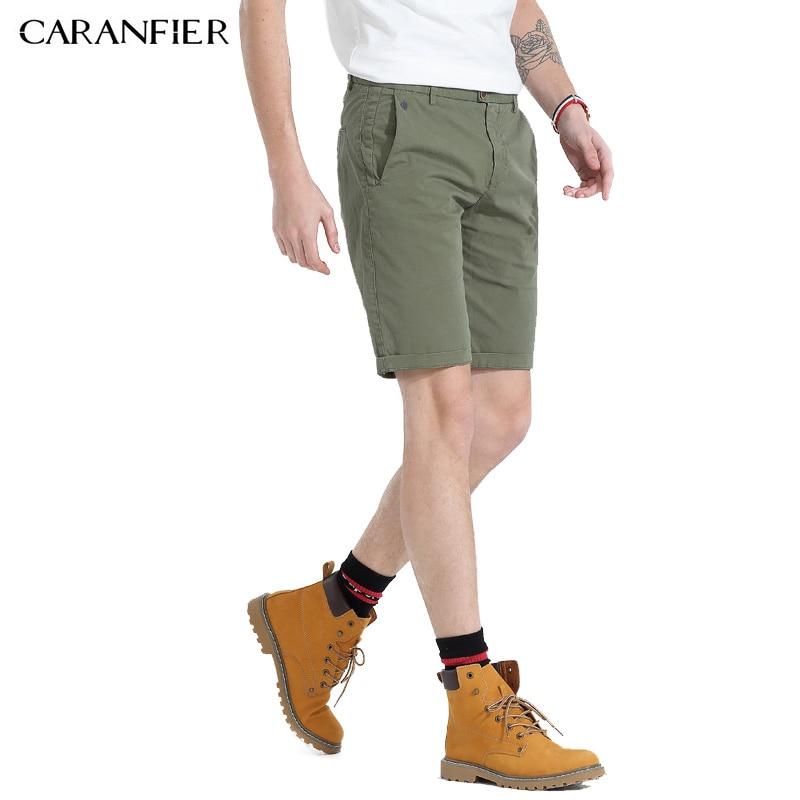 CARANFIER 2018 Summer New Shorts Men Cotton Thin Breathable Knee Length Slim Fit Plus Size Brand Clothing Short Pants Men  36 38