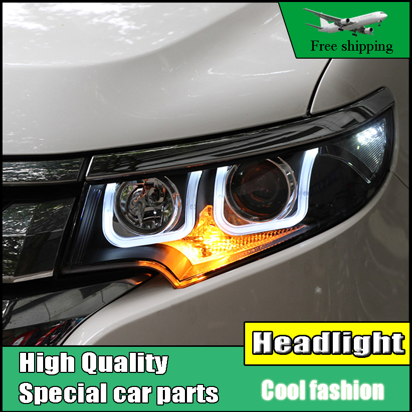 Car Styling Head Lamp Case For Ford EDGE 2012-2014 Headlights LED Headlight DRL Lens Double Beam Bi-Xenon HID Car Accessories akd car styling for nissan teana led headlights 2008 2012 altima led headlight led drl bi xenon lens high low beam parking
