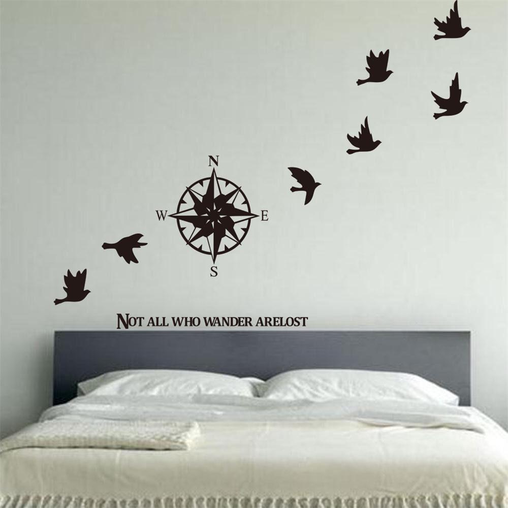 online get cheap compass wall decor aliexpresscom  alibaba group - removable compass bird wall decor art vinyl living room bedroom decalsticker xcm(china (