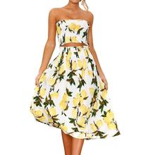 2019 New Yfashion Summer Cheapest Fashion Two Piece Women Sexy Sling Elegant Casual Printing Skirt