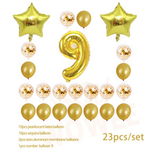 Nine year old Gold Balloon Number Birthday Balloons Party Decoration Happy children birthday