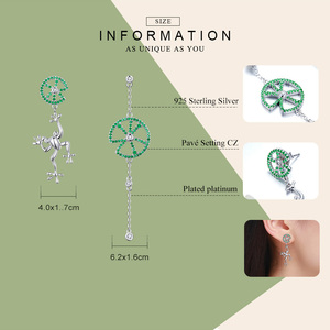Image 2 - BAMOER Authentic 925 Sterling Silver Jumping Frog Green Zircon Drop Earrings for Women Long Chain Animal Earrings Jewelry BSE027