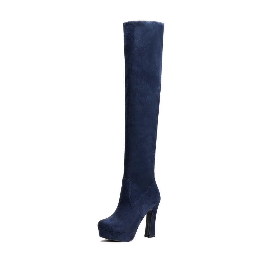 BONJOMARISA 2019 Kış Batı Sıcak Satış Büyük Boy 34-43 Seksi Kadın Platformu Diz Yüksek Çizmeler Eklemek Kürk 11 cm Yüksek Topuklar Ayakkabı Kadın