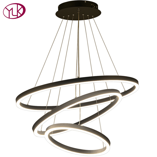 Youlaike Modern Led Chandelier For Living Room Large Black Hanging Acrylic Lamps Long Staircase Indoor Hallway