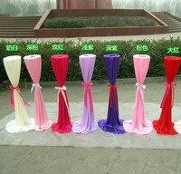 20 SZTUK Drogowego Ślub Stelażu z jedwabiu tkaniny pokrywa Do Ślubu Dekoracji Kwiat Wspornik metalowy Uchwyt/metal kwiat stojak