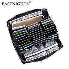EASTNIGHTS Credit Card Holder Genuine Leather Women Rfid Phone Business Case Men Passport Cover Bag WTW2719