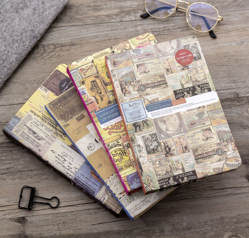 4 Style Retro European Hard-Faced Color Page Notebook School Gift Illustration Notebook Tool