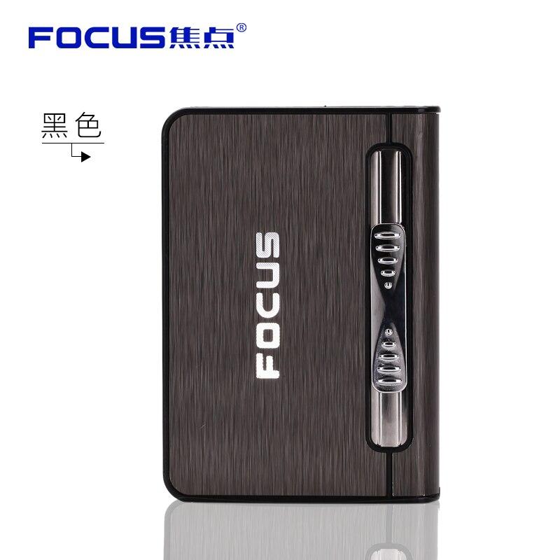 FOCUS Automatic Cigarette Case Portable Windproof Llighter With Kerosene Oil Lighter 10pcs Holder