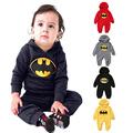 Invierno de manga larga con capucha fleece Batman monos mamelucos del bebé muchachas de los bebés mono de mono del bebé ropa infantil
