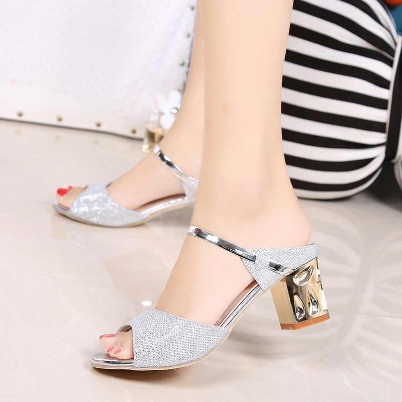5be88c5552bbb ... Women Heels Sandals Fashion Women Shoes Silver Summer Ladies Sandals  2018 New Square Heel Sandals Peep ...