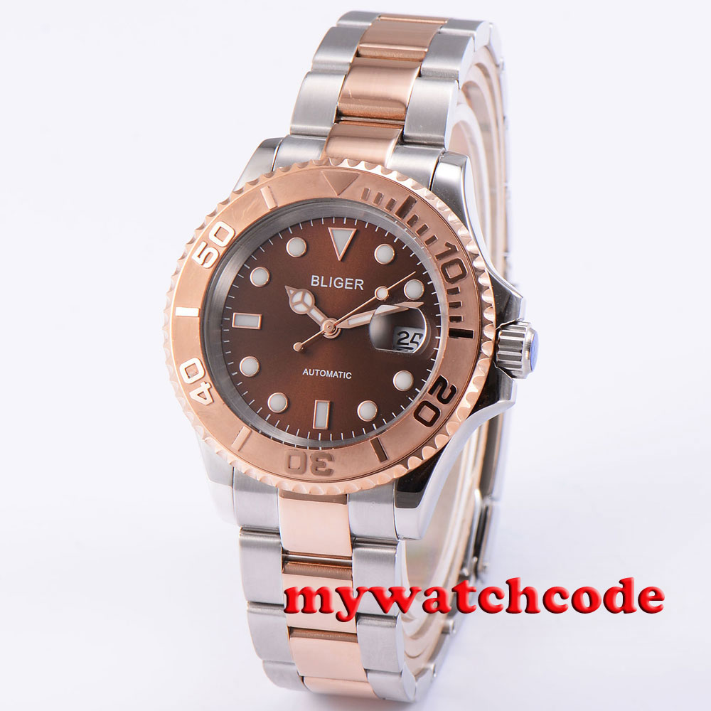 где купить 40mm bliger brown dial sapphire crystal deployment clasp automatic mens watch85 дешево