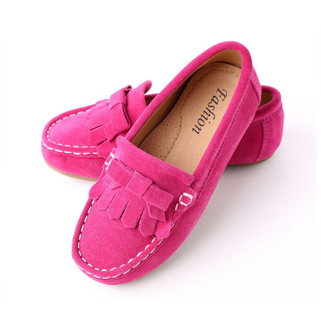 Luxury Nubuck Leather Girls Children Creepers Slip on Fringe Children Moccasins Suede Children Flats Shoes Kids Girl Casual Shoe