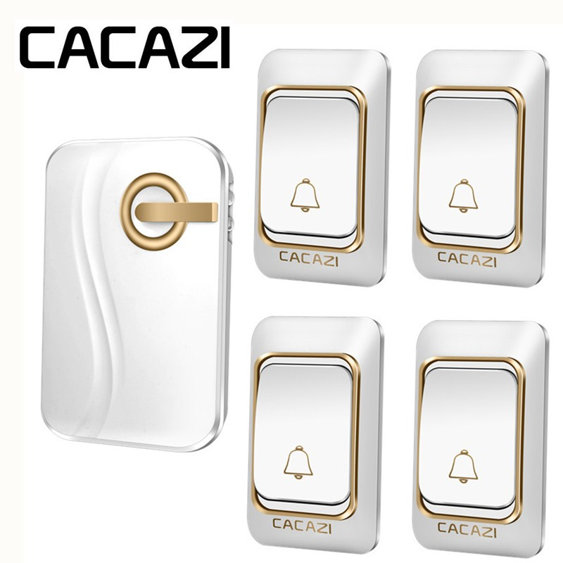 CACAZI Intelligent Sans Fil Sonnette DC À Piles Étanche 4 Bouton 1 Récepteur Maison Sans Fil Sonnette 4 Volume 36 Carillons
