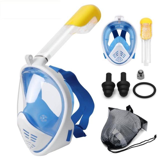87e6d5989 Buceo máscara de cara completa snorkel máscara bajo el agua Anti niebla snorkel  máscara de buceo