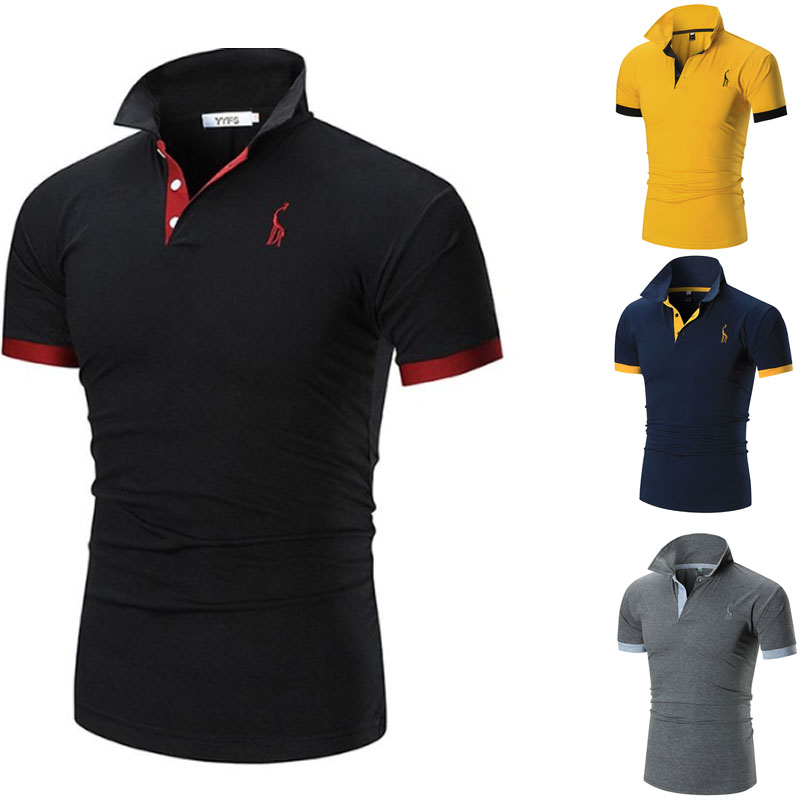2019 Mens Polo Shirt Brands Male Short Sleeve Casual Slim Solid Color Deer Embroidery Polo shirt