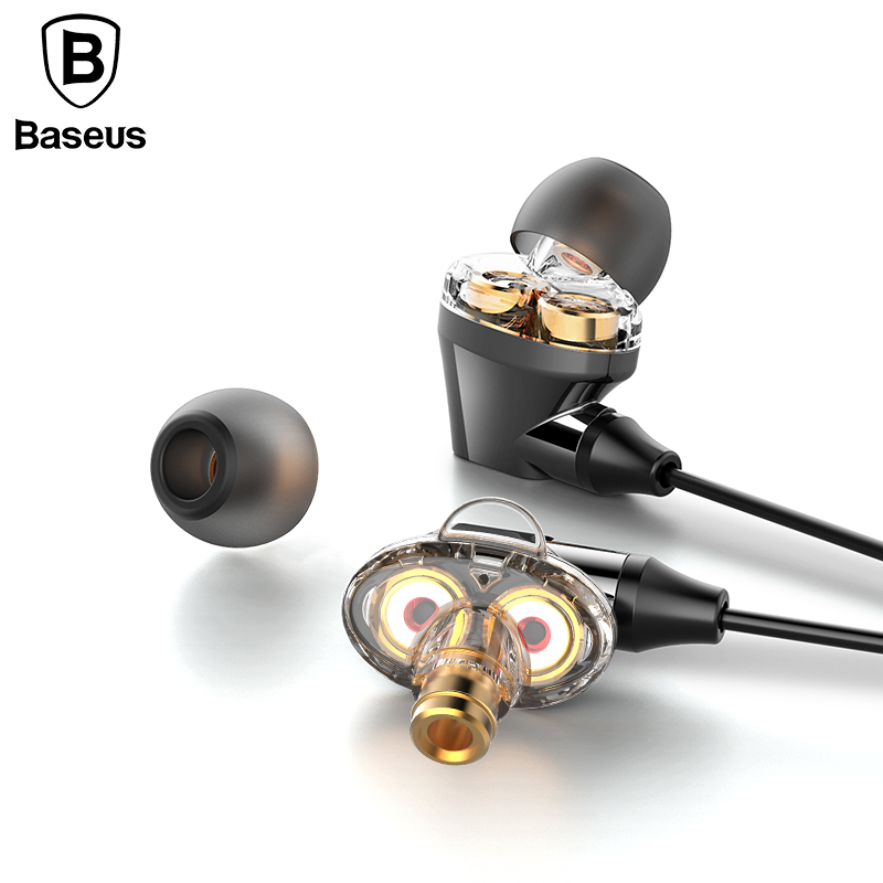 Baseus H10 Double Dynamic coil wired control Earphone stereo Hifi auriculares headset Earpiece Casque Earphones for mobile phone