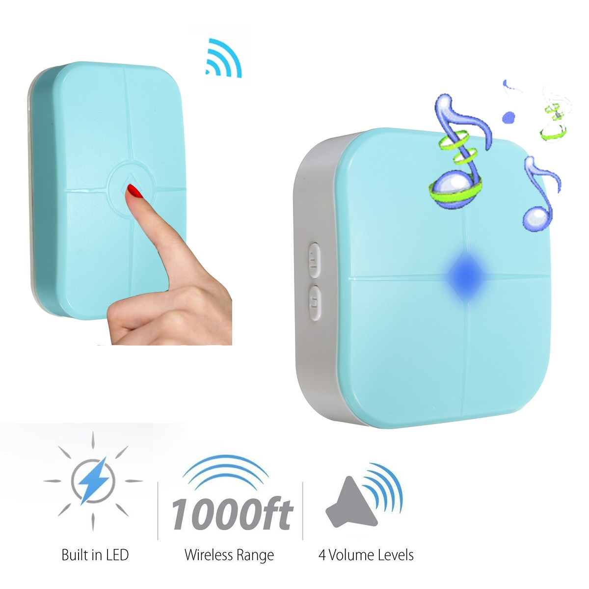Safurance 300M LED Wireless Waterproof Door Bell Remote Control+Receiver 36 Tunes US Plug Home Security wireless home security door bell call button access control with 1pcs transmitter launcher 1pcs receiver waterproof f3310b