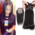 Grade 8A Peruvian Straight Hair With Silk Base Closure With Baby Hair 3 Bundles Peruvian Short Straight Human Hair With Closure