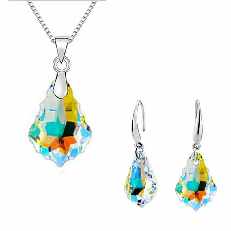 African crystal silver jewelry set nigerian wedding african beads jewelry set crystal pendant earrings for women