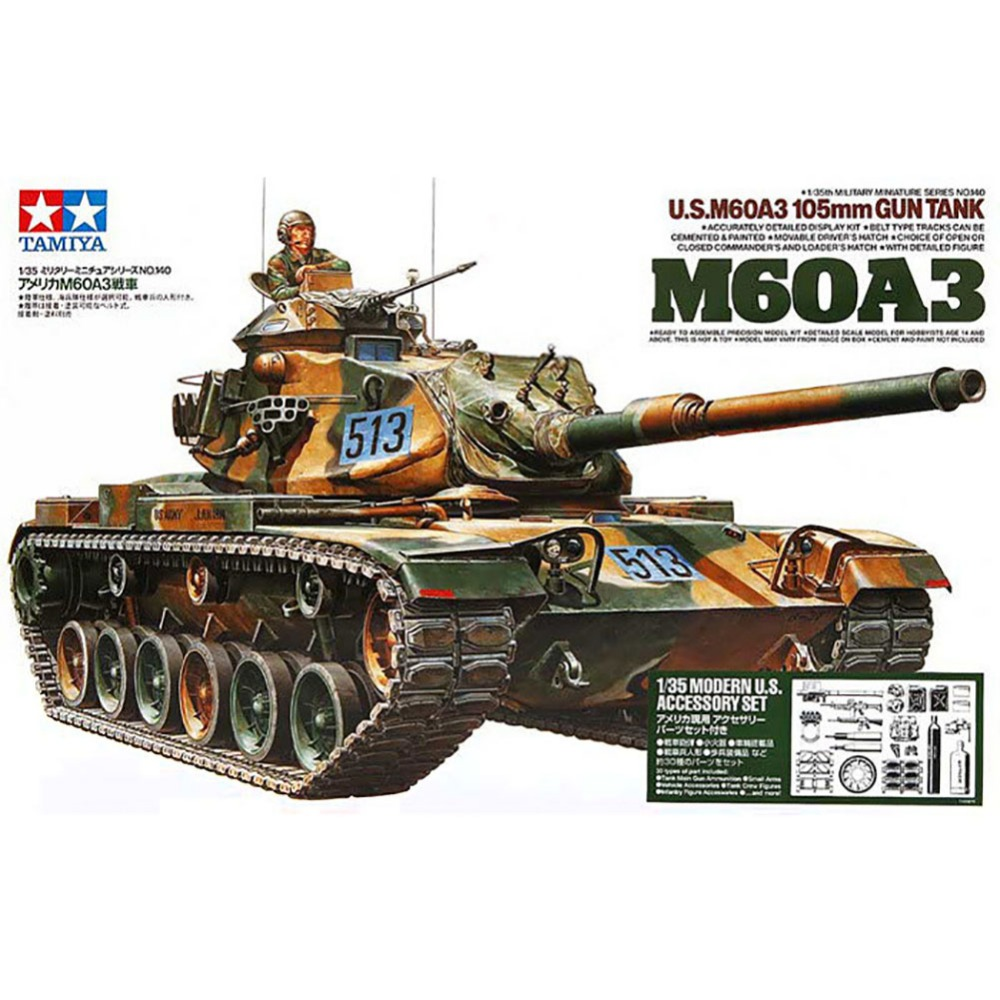 OHS Tamiya 35140 1/35 US M60A3 105mm Gun Tank Military Assembly AFV Model Building Kits 1 35 assembly model e 100 frederick scher type containing metal gun turret