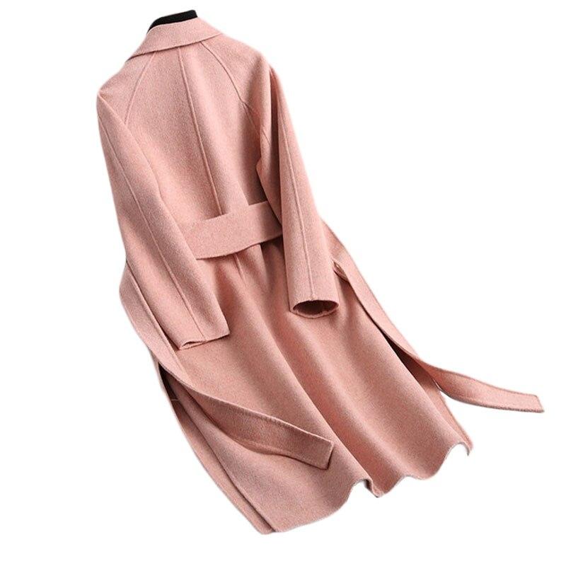 Coréenne pearl Haute Automne Outwear Pointes face Cachemire red Veste Fourchues De Camel Qualité Manteau Rice B997 Hiver Powder Double Long Cherry Femmes Laine 5HwWPx5qAv