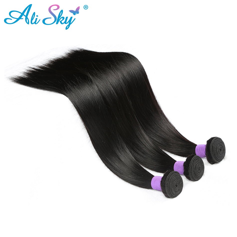3 Bundles Peruvian Straight Hair 100% Human Hair Extensions Can Make To Wigs Nonremy Free Shipping Ali Sky Black Hair Weaves