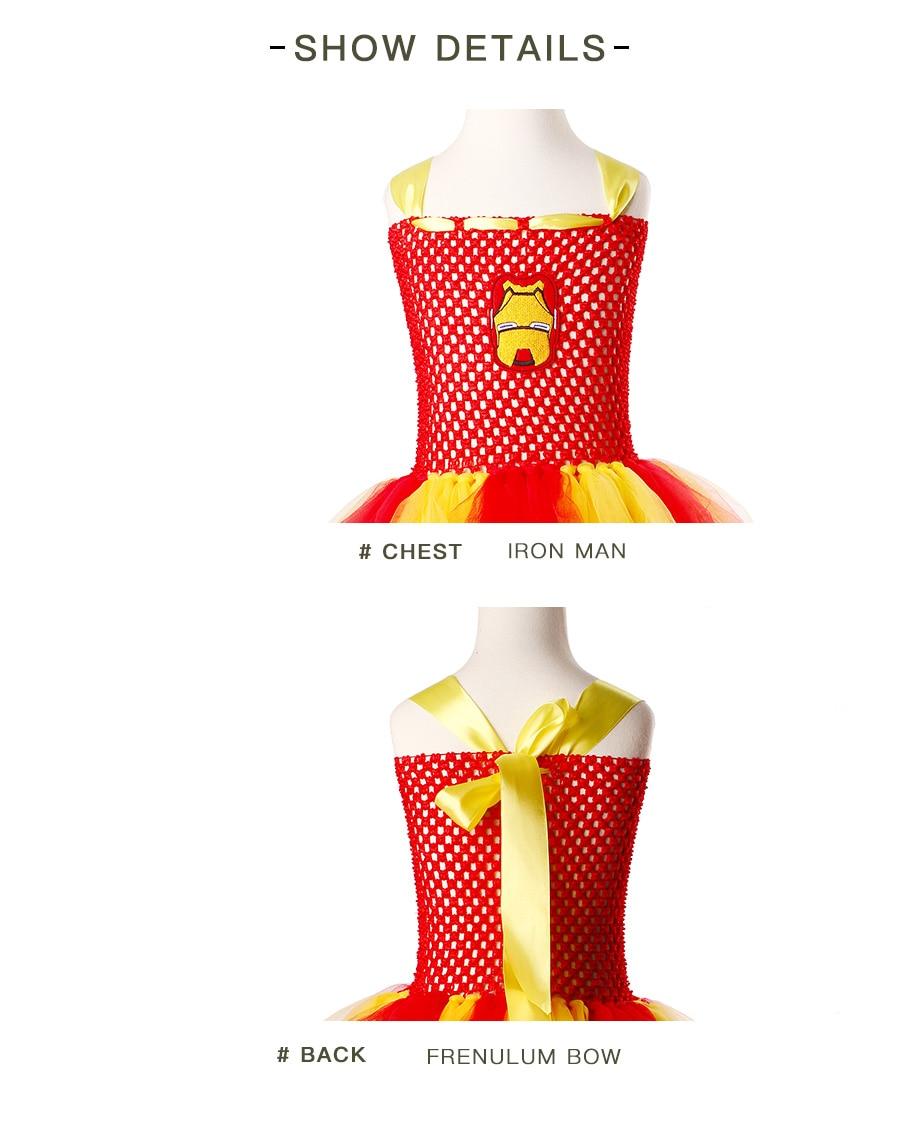 Iron Man Girls Tutu Dress Cartoon Baby Gril Halloween Cosplay Party Dress Handmade Fancy Superhero Inspired (9)