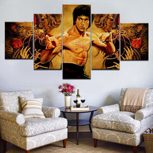 лучшая цена 5 Panel/pieces HD Print Kung Fu Bruce lee figure wall posters Print On Canvas Art Painting For home living room decoration