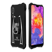 Cool Superhero Cloak Acrylic+Metal Glossy Case For Huawei P20 Pro Lite Hard Cover Shockproof Finger Ring Stand Shell Fashion(China)