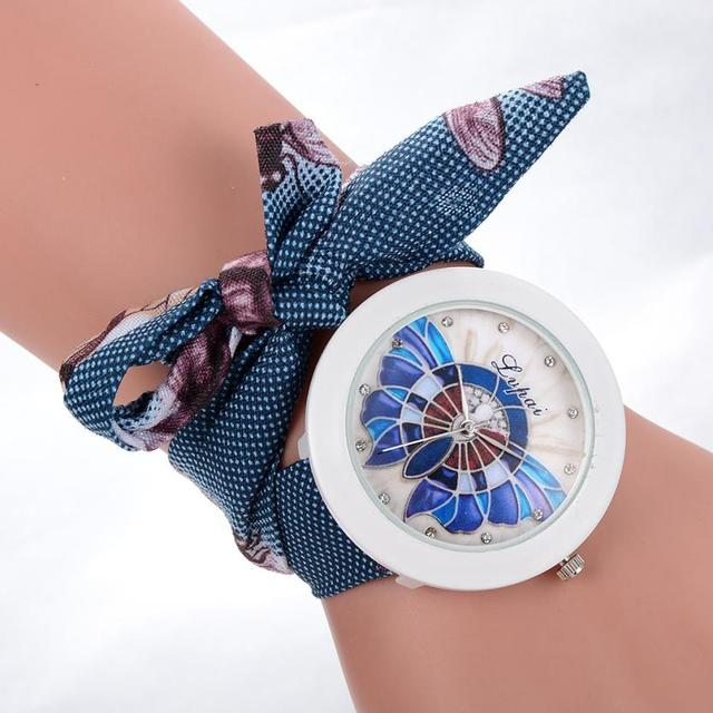 Ladies Flower Scarves Bracelet Watches Women Fashion Diamond Crystal Quartz Wris