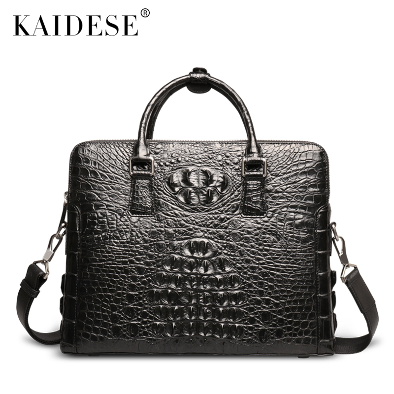 kaidese The new male crocodile leather bag tote bag leather crocodile leather briefcase bag male business bag все цены