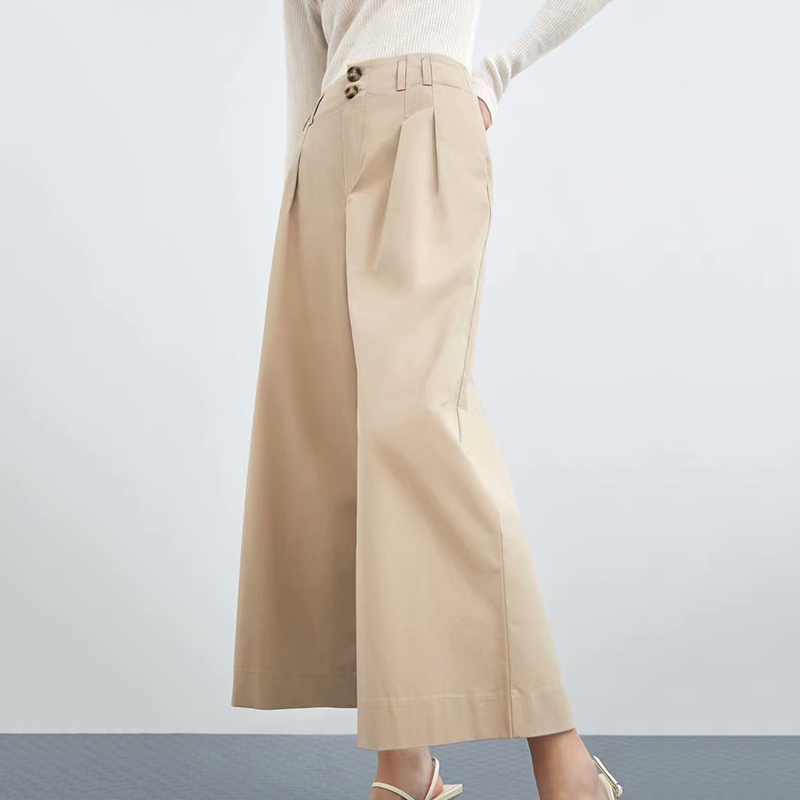 New Khaki Women Twill   Wide     Leg     Pants   2019 Spring-Autumn Fashion Ladies Loose High Waist Lycra Trousers Chic Girls pantalon femme