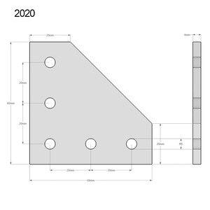 Image 5 - 10 ชิ้น/ล็อต 3D เครื่องพิมพ์อลูมิเนียม L 5 หลุม 60x60x4 มม.เข้าร่วมแผ่นสำหรับ 2020 V Slot/L Slot อลูมิเนียม Extrusion