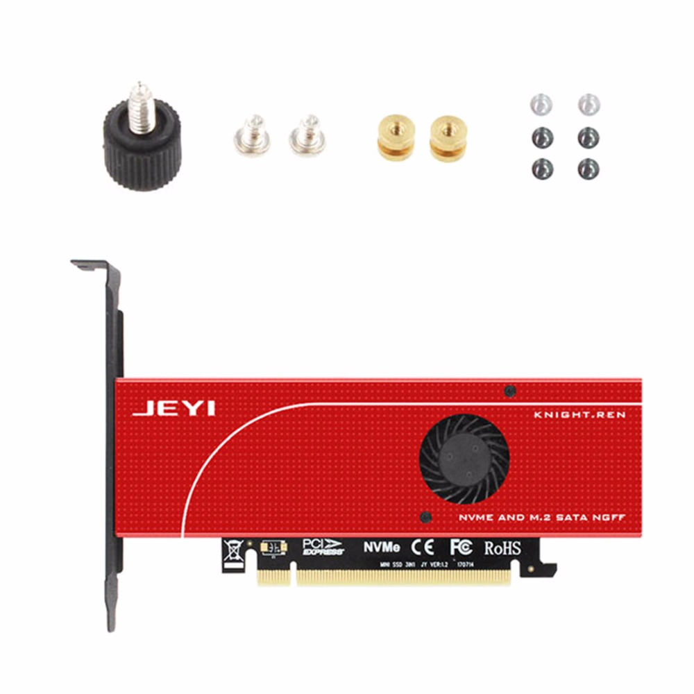 JEYI KNIGHT Power-Fail Protection PCIE3.0 NVME Adapter X16 Full Speed M.2 Dd On Card Heat Sink Wafer Fan Cooling SSD
