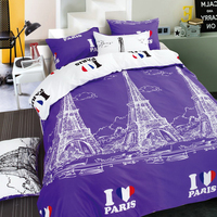Liliya Russian Brand Romantic Purple Color 4 Pcs Twin Full Queen Size Comforter Bed Linen Bedding