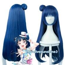 LoveLive Sunshine Love Live Sunshine Yoshiko Tsushima 80cm Mixed Blue Heat Resistant Hair Cosplay Costume Wig